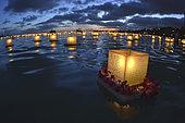 Lanterns floating during Memorial Day Celebration, Honolulu, Oahu, Hawaii, USA