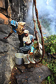 The honey of the untouchables, At the foot of the cliff, part of the team collects the pole and the container full of honey, conditions it for portage. Tamil Nadu, India