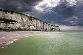 Storm clouds over chalk cliffs on the coast near Saint-Valery-en-Caux, Département Seine-Maritime, Normandy, France, Europe