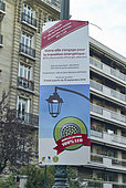 Ecological Transition Information Panel, Public Lighting 100% LED, Paris, France