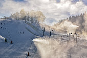 Snowmaking, Autrans ski resort, Meaudre, Massif du Vercors, Alps, France