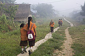 Children going to primary school on the main road to the village of Madobag, Pulau Siberut, Sumatra, Indonesia