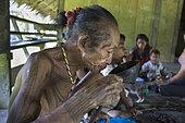 Man drinking water in a coconut, Pulau Siberut, Sumatra, Indonesia