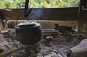 Pot containing rice over the fire, Pulau Siberut, Sumatra, Indonesia