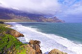 Coastline and coastal road between Hermanus and Cape Town in the vicinity of Kogelberg Reserve, protected natural landscape, South Africa