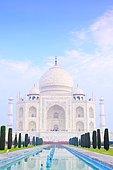 South view of the Taj Mahal mausoleum with its basin and cypress trees, Uttar Pradesh, Agra, India