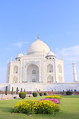 South view of Taj Mahal mausoleum with flower beds and cypress trees, Uttar Pradesh, Agra, India