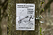 poster on a tree Breeding and stocking ... dog on leash in forest, Boncourt, Canton of Jura, Switzerland
