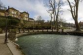 Village of Bèze and source of the Bèze, Burgundy, France
