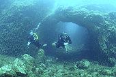 Underwater exploration, Arch of Saint-Raphael, Diving site of the Sea Lion, Saint-Raphaël, Var, France