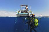 Departure of a training level 4, 800 m capelé, Diving center underwater adventure, Saint-Raphaël, Var, France