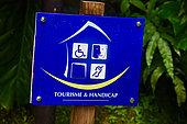 Panneau Tourisme & Handicap, Route de la traversée, Guadeloupe