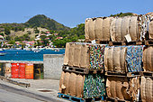 Recycling bales ready to be shipped, Les Saintes, Guadeloupe