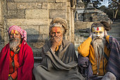 Portraits of three characters representing the monkeys of wisdom