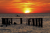 Fishing at sunset, Delaware bay. New Jersey