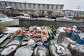 Lobster boats tied up for winter blizzard, Portland Harbor, Maine