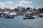 Lobster boats fishing through the winter. Bailey Island, Maine