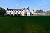 View of the castle of Chenonceau, split view, Indre et Loire, France