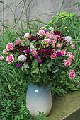 Bouquet of Dahlia (Dahlia sp), Rose (Rosa sp), Globe amaranth (Gomphrena globosa), Scabieusia (Scabiosa sp)