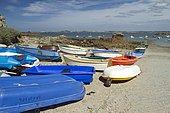 Boats and sea coast at Porz Hir, Plougrescant, Côtes-d'Armor, Brittany, France