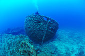 Diver and Boat Wreck, Antheors Péniches Dive Site, Côte d'Azur, France