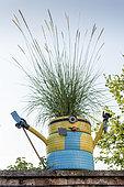 """Décoration """"Minion"""" sur un mur de jardin, France, Moselle, été"""