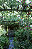 Pergola and garden shed. Floral garden of the Viaduct. France