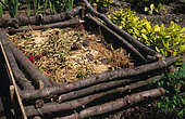 Compost pile in the garden