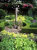 Flowered aromatics garden with water pump, Alpine lady's mantle (Alchemilla mollis), Common Stork's Bill (Erodium cicutarium), Rose 'Guirlande d'amour' (Rosa sp), Mme Deferme's garden, Belgium