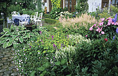 Flowered terrace with Plantain Lily (Hosta crispula), Géranium (Geranium sp), Woodland sage (Salvia nemorosa), Astilbe (Astilbe sp), garden of Mr. and Mrs. Deferme. Belgium