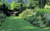 Garden scene in summer, Lawn, Jardins de Castillon-Plantbessin, Normandy, France