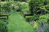 Lawn path, Flower beds, Arbor and Sundial, Château de Villiers, Cher, France (AE)
