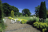 Garden park under a blue sky. Stevenson House, Scotland
