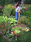 Young girl hoeing in a flowered vegetable garden in summer