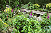 Water garden: Pond and Bench, Marle Place Gardens, Kent, England (AVP)