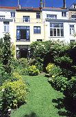 Garden courtyard, private garden, Belgium.