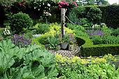 Ornate vegetable garden with Rhubarb (Rheum rhaponticum), Horseradish (Armoracia rusticana), Sage (Salvia sp), Laurel (Laurus nobilis), Water pump, Garden of Mr and Mrs Deferme, Belgium.