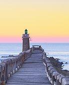 Estacade, wooden pier and lighthouse at Capbreton, Aquitaine, France
