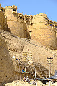 Restoration of the Ramparts of the Jaisalmer City Fort, nicknamed the Golden City, Rajasthan, India