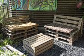 Garden furniture made of wooden pallets