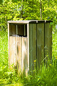 Wooden trash in a natural space, spring, Somme, France