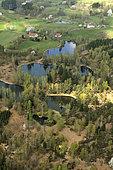 ponds and forest (aerial view), towards Beulotte Saint Laurent, Plateau des Mille Etangs, Haute Saone, France