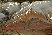 Dalton Highway : from Fairbanks to Prudhoe Bay, (mile 383), The Franklin Bluffs Iron Rich Land, Alaska, USA