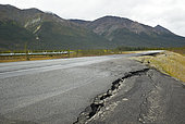 Dalton Highway : from Fairbanks to Prudhoe Bay, Road surface cracks with Permafrost melt, Alaska, USA