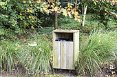 Wooden trash in a natural space, autumn, Somme, France