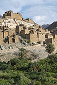 Old village of Dee Ayn on a marble hill above a banana plantation, Asir Mountains, Saudi Arabia