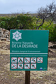 Sign at the entrance of La Désirade reserve, Guadeloupe