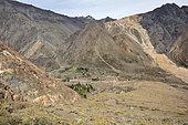 Lo Valdés, the volcano at the bottom, Cajón del Maipo, Metropolitan Region of Santiago, Chile