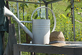 Intérieur d'une serre de jardin avec table de rempotage et équipement du jardinier, été, Moselle, France