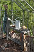 Equipement du jardinier dans une serre, été, Moselle, France
